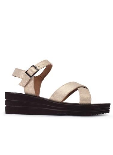 Deery Hakiki Deri Sandalet Bej